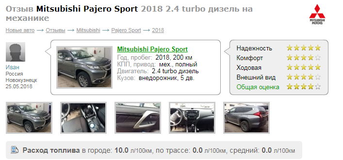 о Mitsubishi Pajero Sport отзыв