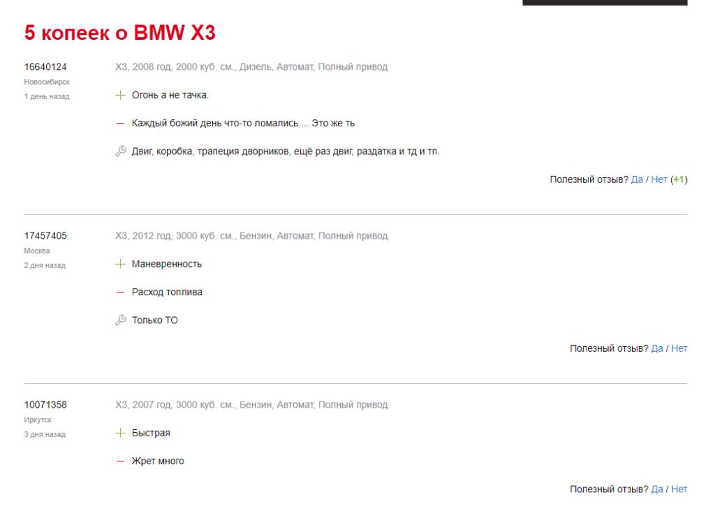 BMW X3 отзывы