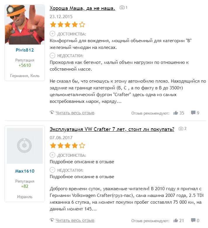 Фольксваген Крафтер отзывы